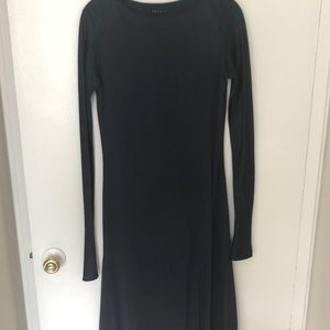 Theory midi navy dress with silk sleeve